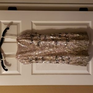 ABS Fully Sequin Strapless Dress